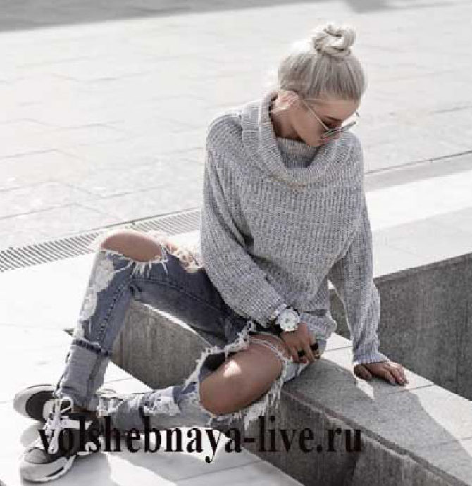 Образ с серым свитером оверсайз и рваными джинсами