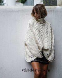 свитер оверсайз с кожаной юбкой