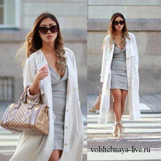 Образ с серым платьем, белым плащом и ботильонами