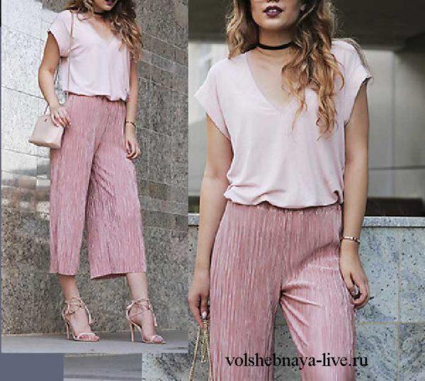 Розовые брюки кюлоты из бархата