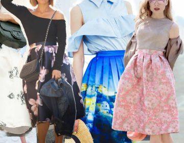 С чем носить юбку с цветами, образы с показов мод, фото блогеров, советы с чем носить