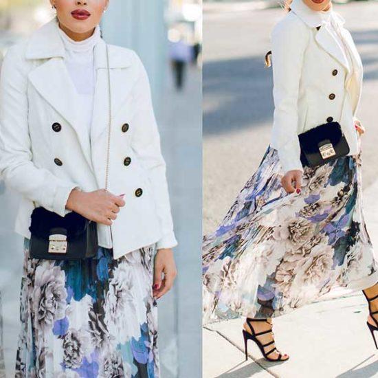 Двубортный пиджак белого цвета под юбку с цветами