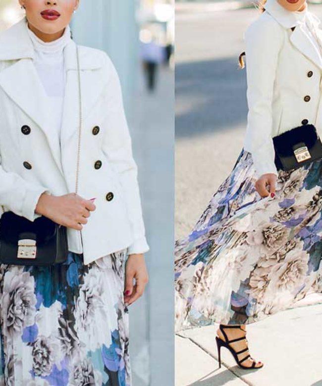 Двубортный пиджак белого цвета под юбку с цветами в пол
