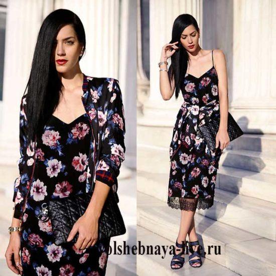 Платье комбинация из с шелка с цветами