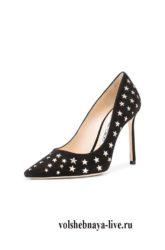 Туфли черные с золотом на шпильке