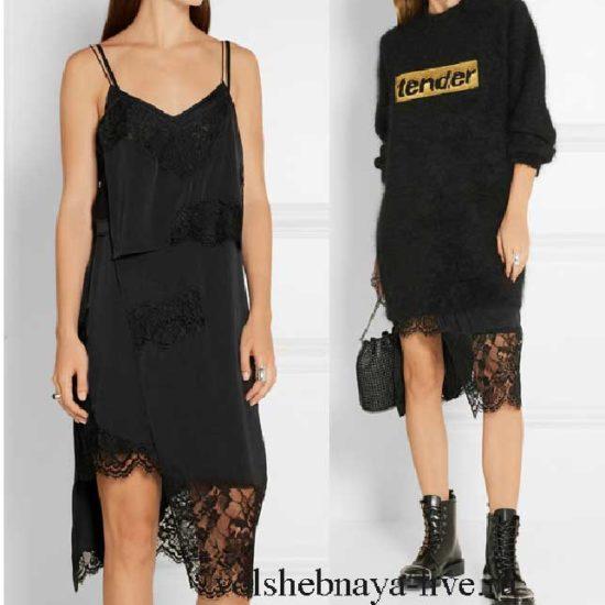 Шелковое черное платье комбинация с кружевом и свитером