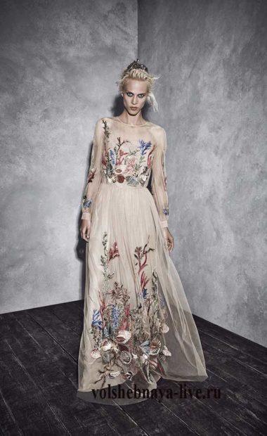 Бежевое шелковое платье Alberta Ferretti 2017