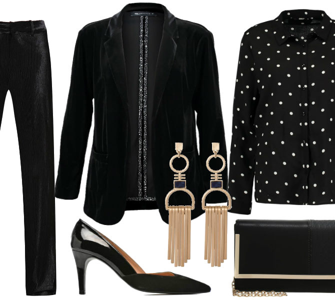 Образ для вечера с черным бархатным пиджаком