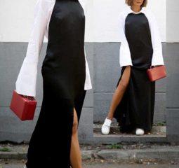 Платье комбинация в пол, под белую рубашку