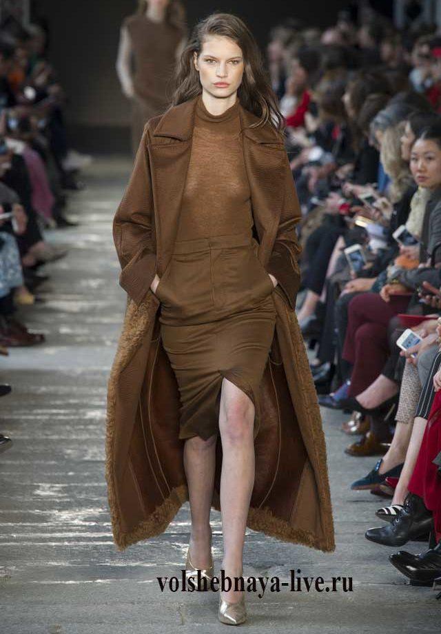 Коричневые юбка и пальто осень- зима  2017 max-mara