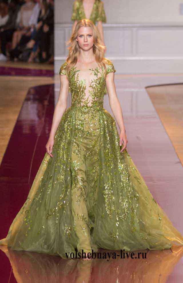 Платье цвета хаки в пол тз пайеток и кружева с поясом zuhair murad