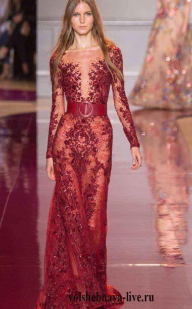 Вечернее платье в пол гранатового цвета . З. Мурад.