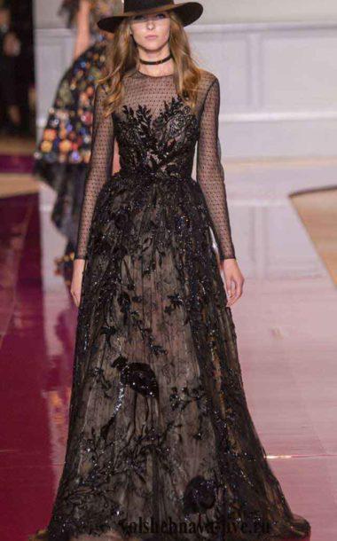 Черное платье из кружева, расшитое блестками Zuhair Murad couture зима 2017