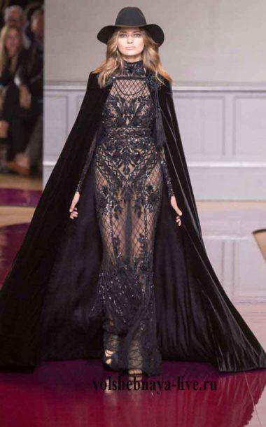 Черные вечерние платья с бархатной накидкой  Зухаир Мурад 2016-2017