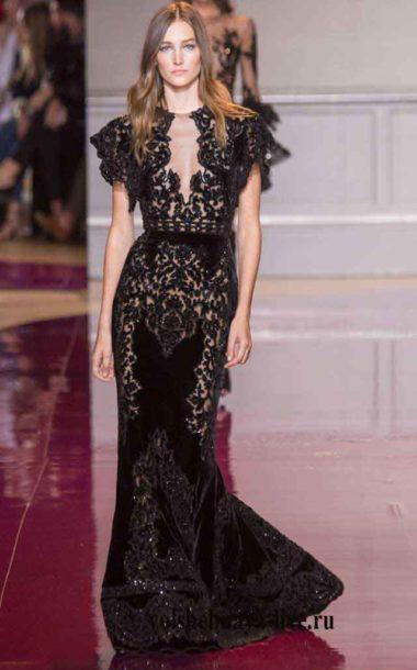 Длинное платье кружевное черного цвета с рукавом лепесток. Зухаир Мурад