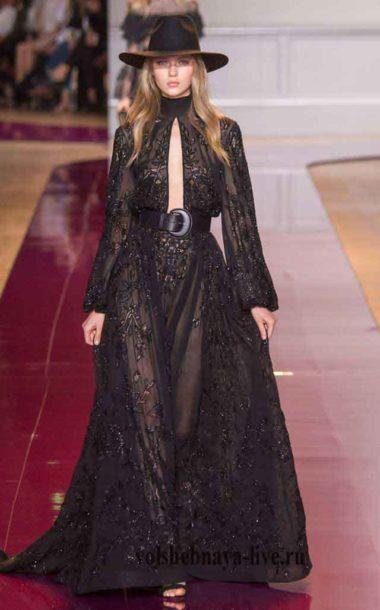 Черное платье из тонкого кружева с воланами Murad couture