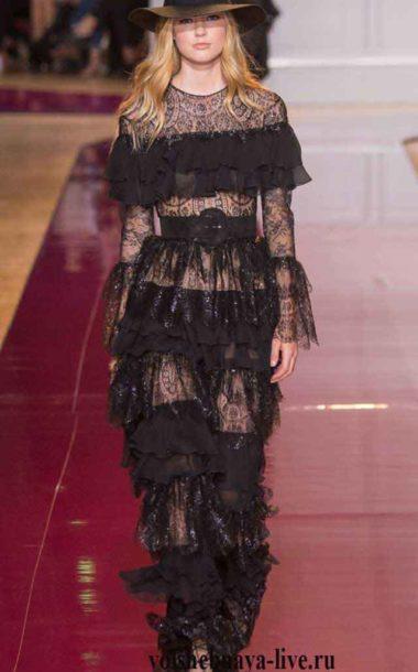 Черное платье из тонкого кружева с воланами и рюшами Murad couture