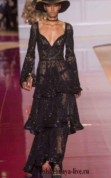 1231766fe6f Черное платье из тонкого кружева с глубоким дэкольте Murad couture зима 2017
