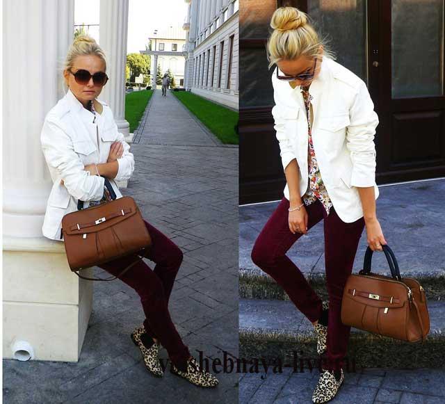 Брюки бордо с белым пиджаком