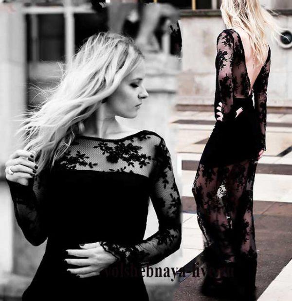 Черное кружевное платье с открытой спиной