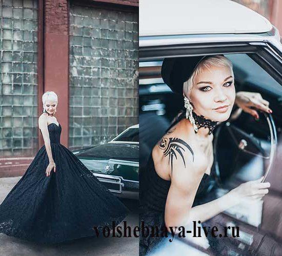 Платье бюстье из черного кружева с пышной юбкой