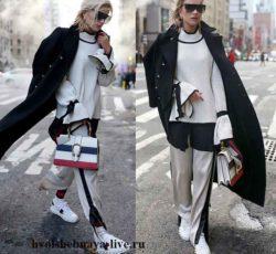 Белые брюки с лампасами под черное двубортное пальто
