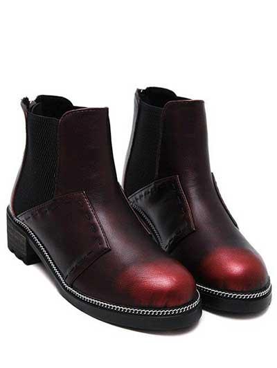 Ботинки на плоском ходу с бордовым градиентом