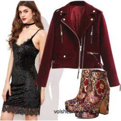 Сет с курткой бордового цвета и платьем комбинация из бархата