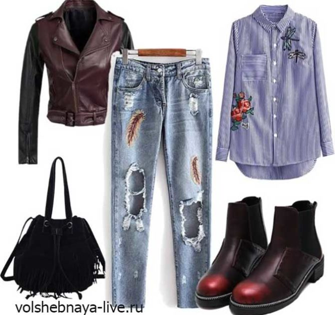 Вышитые джинсы с бордовыми ботинками и курткой цвета марсала