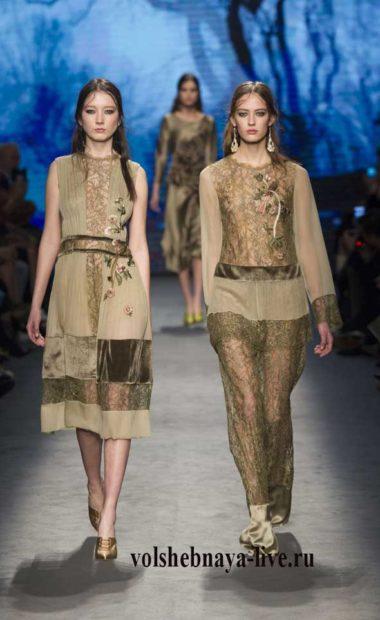Модная одежда цвета оливковый хаки из кружева, шифона и атласа ferretti