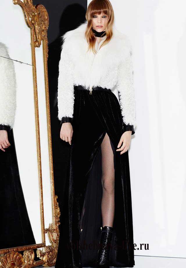 Белый полушубок и юбка в пол из черного бархата Зухаир Мурад
