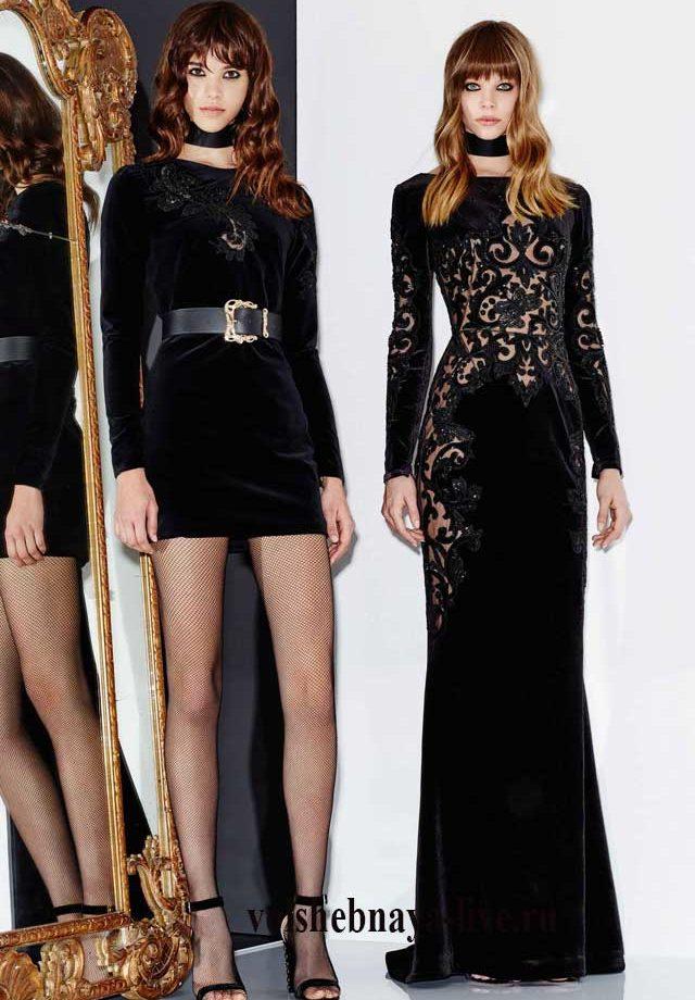 Короткие и длинные черные платья из бархата с ажурной вышивкой в тон