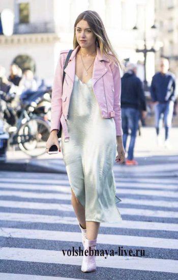 Розовая куртка косуха под платье комбинация
