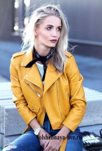 Желтая косуха. С чем носить модную куртку солнечного цвета.