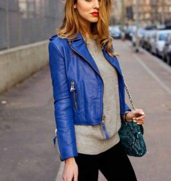 Женская синяя косуха: модные оттенки, материалы и советы с чем носить
