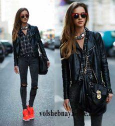 Образ с черной косухой и рваными джинсами