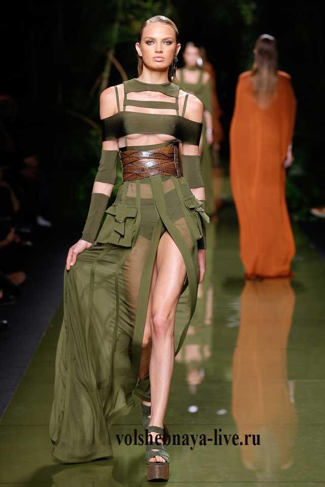 Полупрозрачная юбка оттенка хаки