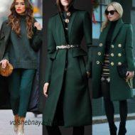 Изумрудное пальто, модные модели, советы с чем носить и стильные образы с фото
