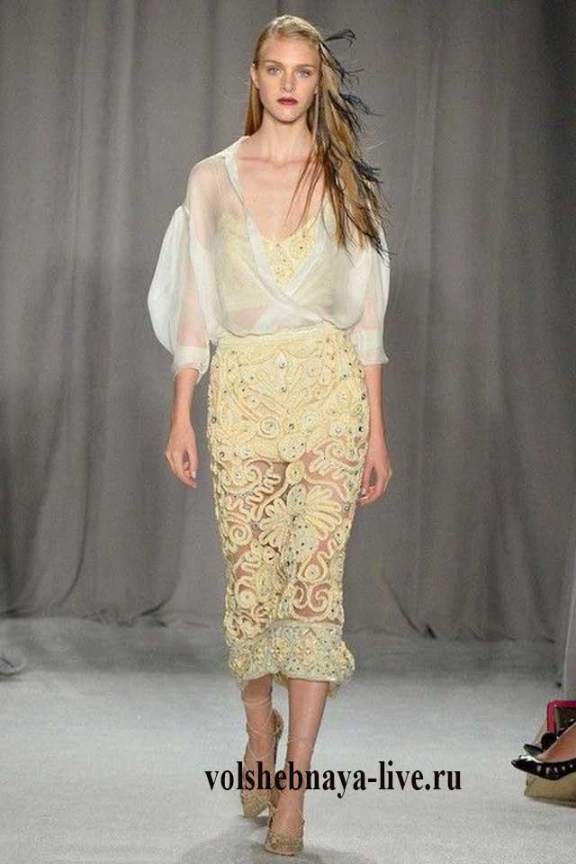 Кружевная дизайнерская юбка карандаш