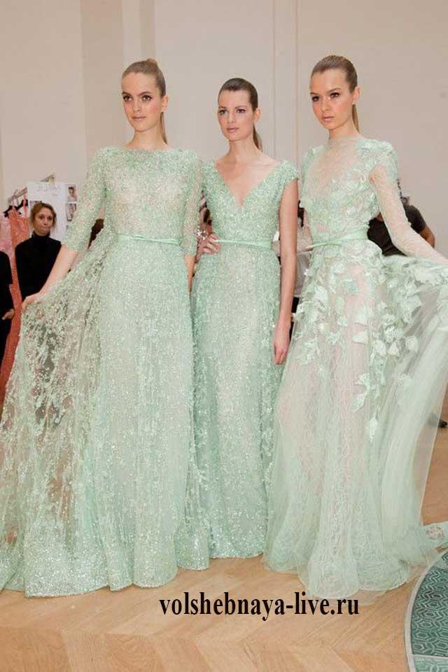 Образы с вечерними платьями мятного цвета