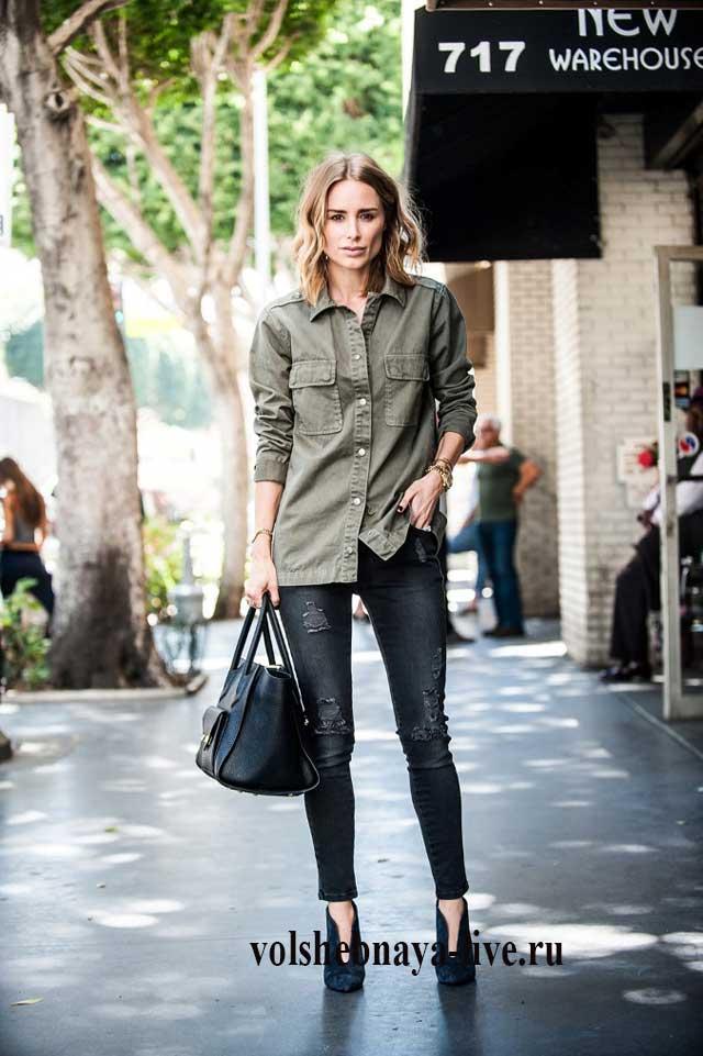 Блузка цвета хаки чем носить
